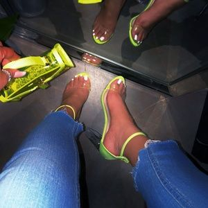 NEW🔥 Neon Ankle Strap Open Toe Clear Heel Sandals